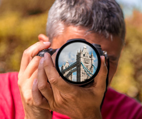 London - The Tower Bridge on the lens of a Photographer