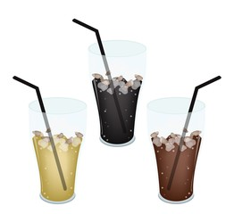Three Kind of Iced Coffee in Glass
