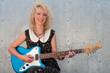 smiling electric guitar girl