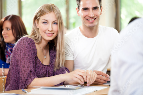 Smiling student couple