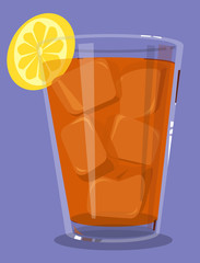 Glass of iced tea with a lemon