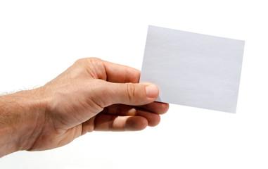 Männerhand hält Visitenkarte - Hand holding Paper Card