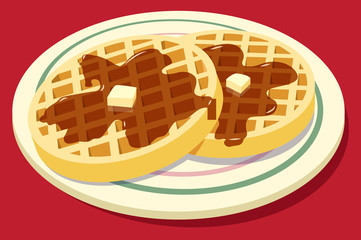 Waffles on plate with syrup and butter