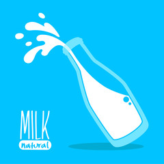 Pouring milk in a glass bottle
