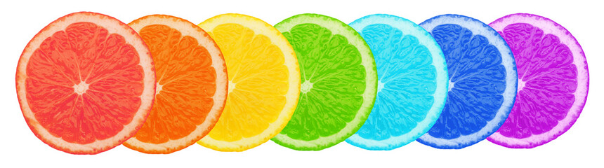 Multicolored pieces of orange isolated on white