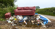 Waste dumped in the countryside, an illegal social issue, fly t