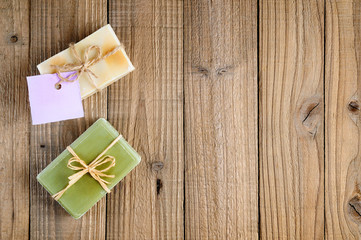 Natural lavender and olive soap on wooden background