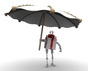 Подарочная коробка в виде робота с пляжным зонтом