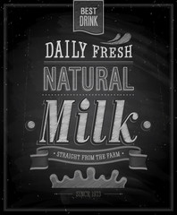 Vintage Milk poster - Chalkboard. Vector illustration.