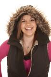 woman fury hood and pink big smile poster