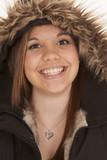 woman fury hood smile poster