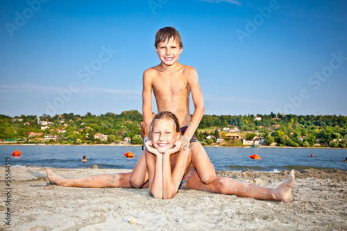 Boy and Girl on  Strand beach in Novi Sad, Serbia.