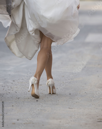 canvas print picture White beautiful bride shoes- wedding details