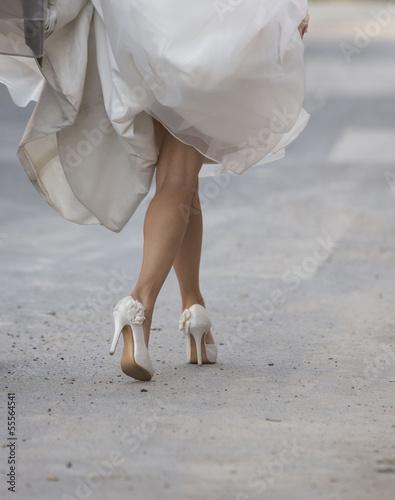 canvas print picture White beautiful bride shoes- wedding details