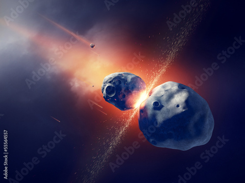 Asteroids collide and explode in space © JohanSwanepoel