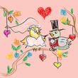 Birds Wedding Doodles Card