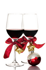 Red wine and Christmas ornaments