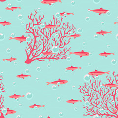 Beautiful seamless pattern with corals and fishes