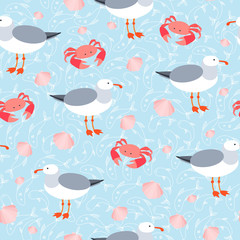 Sea gulls and crabs vector seamless pattern