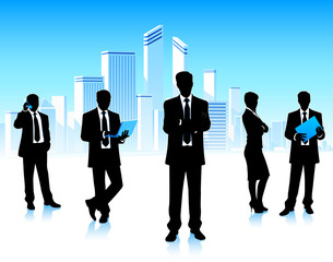 Business group on a city background