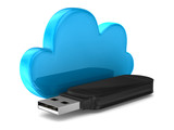 usb flash drive and cloud on white background. Isolated 3D image