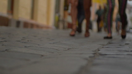 cobbled street  in Cluj Napoca, Romania slow motion