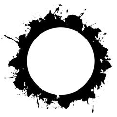 round frame, a ring of blobs, drips, stains