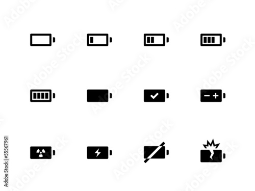 Battery icons on white background. - 55567961