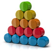 Layer pyramid  made from colorful cylinders