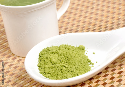 Brewing matcha green tea
