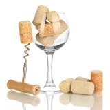 Wineglass and corks isolated on white