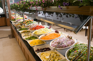 Catering salad buttet at a restaurant