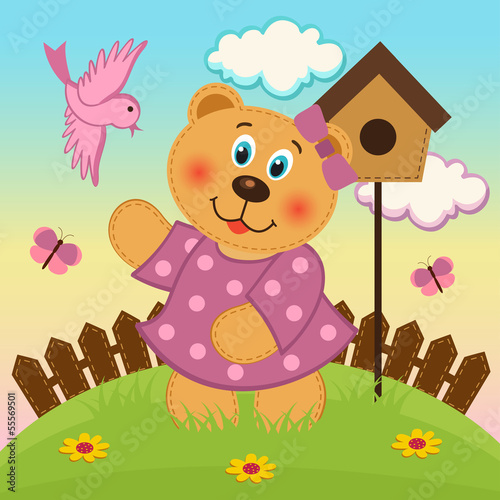 bear girl  feeding birds - vector illustration