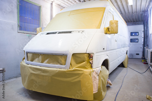 Minivan prepared for painting