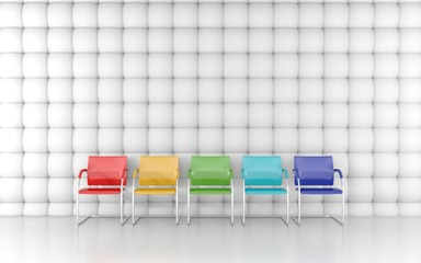 Colored chairs in the acoustic room