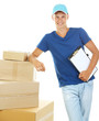 Young delivery man with parcels and clipboard, isolated on