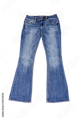 Women's Flared Blue Jeans Isolated on White