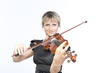 Young woman is playing violin