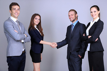 Business colleagues introducing with handshake,