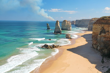 The Twelve Apostles, Australia, and a bushfire