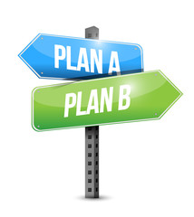 plan a plan b road sign illustration design