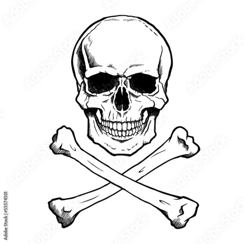 Black and white human skull and crossbones. - 55574501
