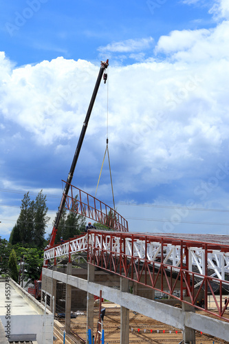 Crane working in construction site  for roof prepare