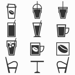 Coffee drinks icons in coffee shop on white background