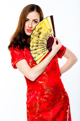 young and beautiful woman in a red Chinese dress