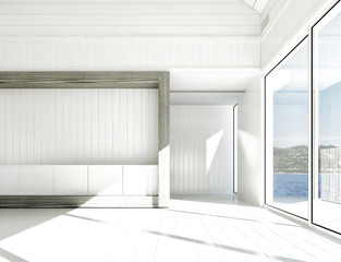 Empty white room with large windows and scenic view