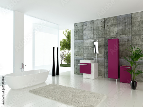 Modern bathroom interior with concrete wall and pink furniture