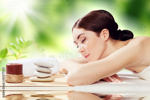 Girl at spa massage