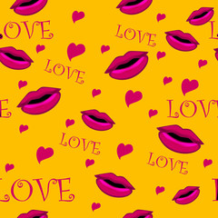 yellow love background with lips