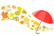 autumn background with an umbrella
